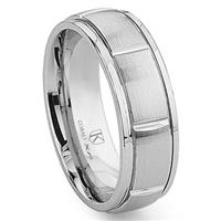 Cobalt XF Chrome 8MM Newport Wedding Band Ring w/ Grooves
