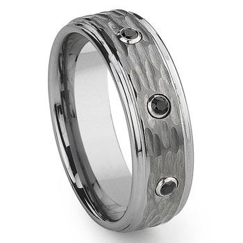 Tungsten Carbide Black Diamond Hammer Finish Wedding Band Ring