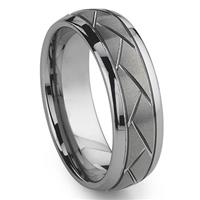 Tungsten Carbide Diamond Cut Groove Newport Wedding Band Ring