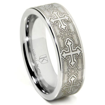 Cobalt XF Chrome Laser Engraved Wedding Band Ring w/ Cross Designs