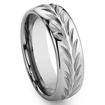 Tungsten Carbide Diamond Cut Chevron Wedding Band Ring