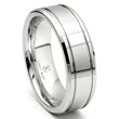 Cobalt XF Chrome 8MM Double Groove High Polish Wedding Band Ring