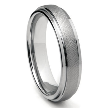 Tungsten Carbide 6MM Mesh Finish Wedding Band Ring