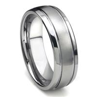 Tungsten Carbide Newport Double Groove  Dome Wedding Band Ring