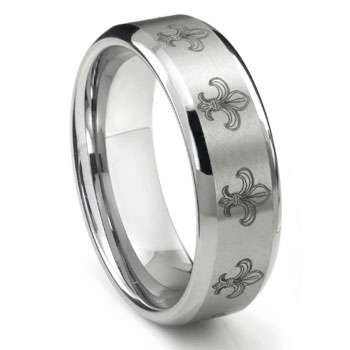 Tungsten Carbide Fleur De Lis Wedding Band Ring