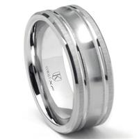 Cobalt XF Chrome 9MM Concave Wedding Band Ring w/ Coinedge Satin Finish