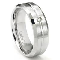 Cobalt Chrome 8MM Solitaire Grooved Diamond Wedding Band Ring