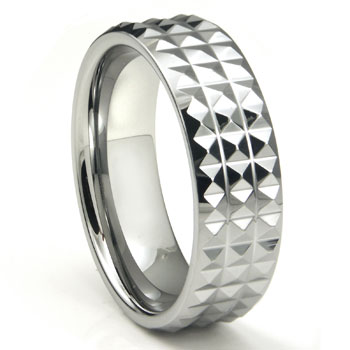 Tungsten Carbide Diamond Pattern Wedding Band Ring