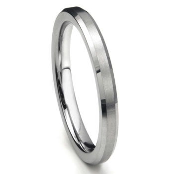 Tungsten Carbide 3MM Beveled Wedding Band w/ Brush Center