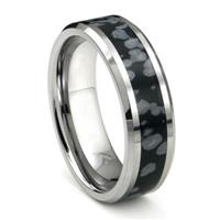 Tungsten Carbide Cosmic Riverstone Inlay Wedding Band Ring