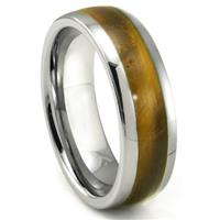 Tungsten Carbide Tiger Eye Inlay Dome Wedding Band Ring