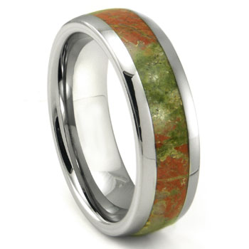 Tungsten Carbide Green & Red Unakite Inlay Dome Wedding Band Ring