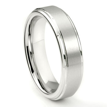 White Tungsten Carbide 6MM Wedding Band Ring w/ Raised Center