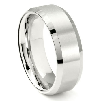 White Tungsten Carbide 8MM Beveled Wedding Band Ring