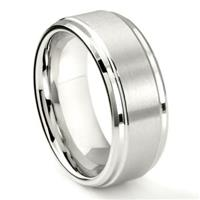 White Tungsten Carbide 9MM Brush Center Wedding Band Ring