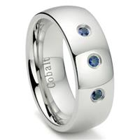 Cobalt Chrome 8MM 3 Blue Sapphire Domed Wedding Band Ring