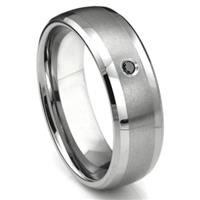 Tungsten Carbide Black Diamond Matte Finish Center Dome Men's Wedding Band Ring w/ Bevel Edges