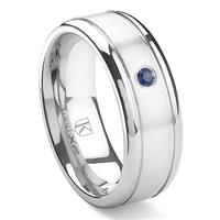 Cobalt XF Chrome 8MM Solitaire Sapphire Newport Wedding Band Ring